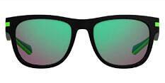 Okulary Przeciwsłoneczne Polaroid PLD/S 2065 003/5Z Czarne, Lustrzanka Zielona, Męskie
